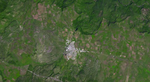 This image from NASA's Terra spacecraft shows the city of Tequila, Mexico. Its red volcanic soil surrounding Tequila is particularly well suited to the growing of blue agave, and more than 300 million plants are harvested each year.