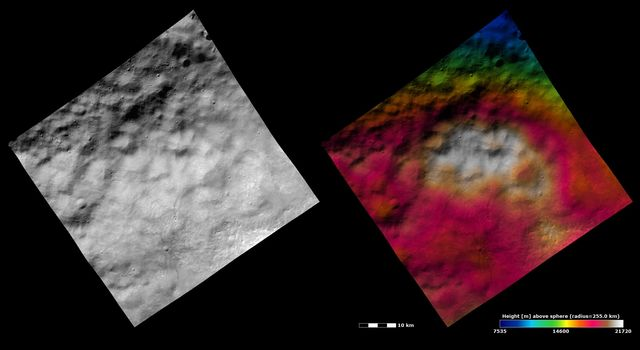 These images from NASA's Dawn spacecraft show part of the ejecta blanket from Vesta's 'Snowman' craters in the northern hemisphere. The ejecta blanket fills the whole image and is identified by its hummocky yet smooth texture.