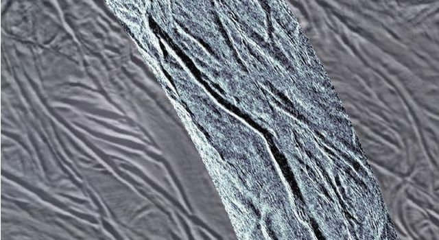 This image using synthetic-aperture radar (SAR) data acquired by NASA's Cassini spacecraft shows grooves in the southern part of Saturn's moon Enceladus.