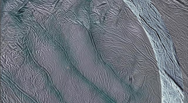 NASA's Cassini spacecraft obtained this view of the south polar area of Saturn's moon Enceladus in visible and near-visible (ultraviolet and infrared) light and synthetic-aperture radar (SAR).