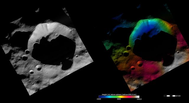 These images from NASA's Dawn spacecraft are dominated by the 35km diameter Bellicia crater on asteroid Vesta, after which Bellicia quadrangle is named.