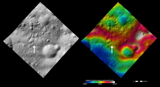 These images from NASA's Dawn spacecraft show Claudia crater (marked by an arrow) and its surroundings. Claudia crater is the crater which is used to define 0° longitude on asteroid Vesta.