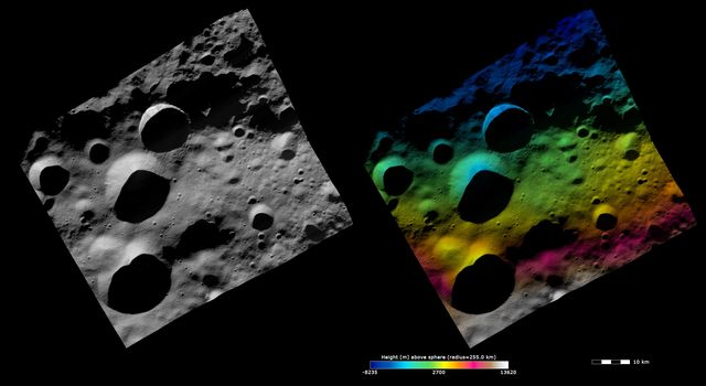 These images from NASA's Dawn spacecraft show the 12km diameter Floronia crater on asteroid Vesta, after which Floronia quadrangle is named. Floronia crater is the middle crater in the vertical column of 3 craters.