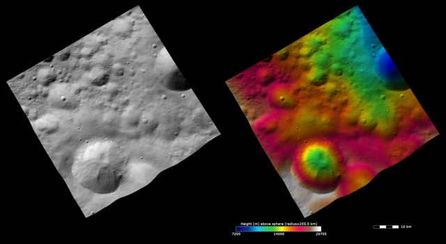 These images from NASA's Dawn spacecraft show Gegania crater on asteroid Vesta, after which Gegania quadrangle is named. The image at left shows the albedo (brightness/darkness) of the surface.