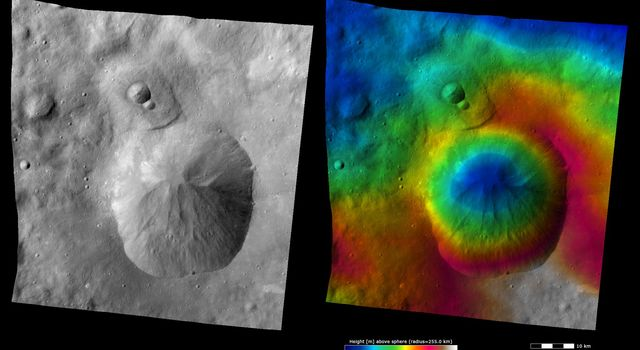 These images from NASA's Dawn spacecraft show Oppia crater on asteroid Vesta, after which Oppia quadrangle is named. Oppia crater is a distinctive crater because it has an unusually shaped rim, which is almost rectangular in form.
