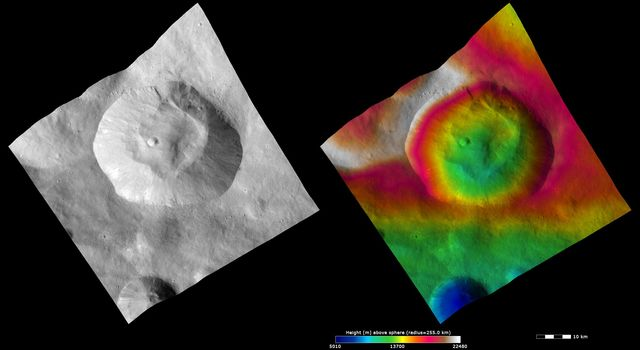 These images from NASA's Dawn spacecraft show Pinaria crater on asteroid Vesta, after which Pinaria quadrangle is named. Many young fresh impact craters are visible on the slumped material.