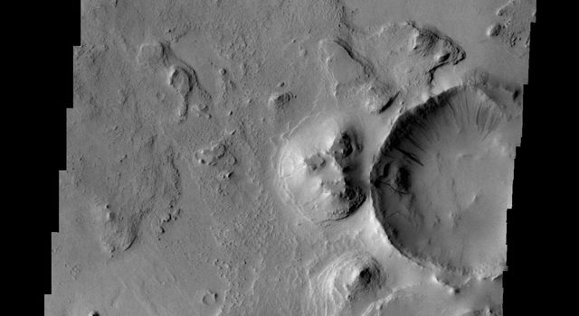 Layering of Arabia Terra is evident in this image from NASA's 2001 Mars Odyssey spacecraft.