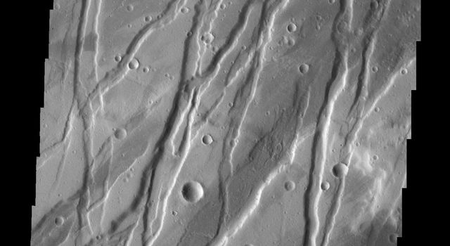 Today's image from NASA's Mars Odyssey spacecraft shows a portion of Tempe Fossae, a region of parallel to subparallel paired fractures called graben.