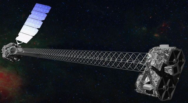This is an artist's concept of NASA's NuSTAR spacecraft which has a 10-meter mast that deploys after launch to separate the optics modules (right) from the detectors in the focal plane (left).