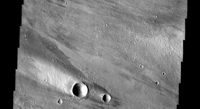 The windstreaks in this image captured by NASA's 2001 Mars Odyssey spacecraft are located on the volcanic plains northeast of Olympus Mons.