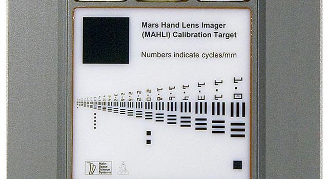 This image provides a way to have a full-size printout of the calibration target for the Mars Hand Lens Imager (MAHLI) camera on NASA's Mars rover Curiosity.