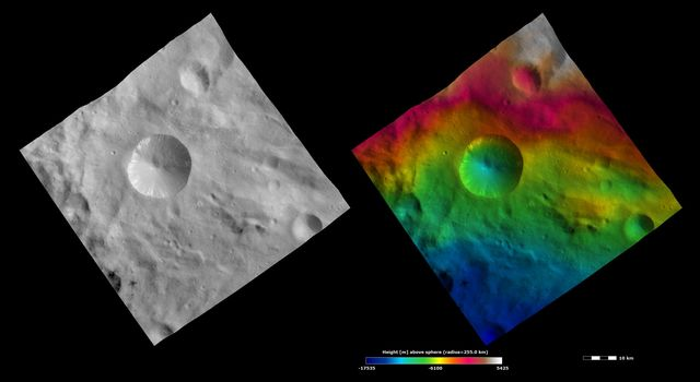 These images from NASA's Dawn spacecraft show Sextilia crater on asteroid Vesta.