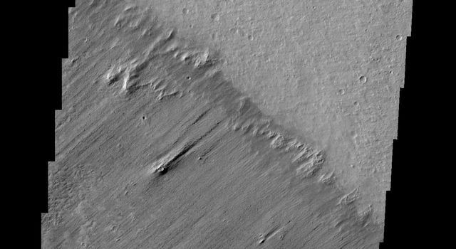 This image from NASA's 2001 Mars Odyssey spacecraft shows a clear boundary between material being eroded by the wind (bottom of image) and a surface scoured clean (top of frame) northwest of Apollinaris Mons.