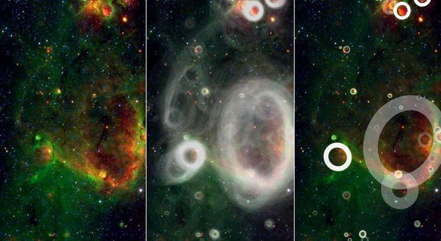 A team of volunteers from the general public has pored over observations from NASA's Spitzer Space Telescope and discovered more than 5,000 'bubbles' in the disk of our Milky Way galaxy.