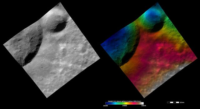 Located in the Marcia quadrangle, the left-hand image from NASA's Dawn spacecraft shows the apparent brightness of asteroid Vesta's surface. The right-hand image is based on this apparent brightness image.