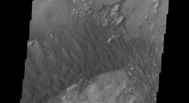 This complex set of dunes is located in an unnamed crater in Arabia Terra as seen by NASA's 2001 Mars Odyssey spacecraft.