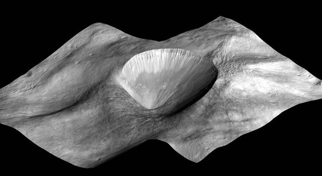 This image, made from data obtained by NASA's Dawn spacecraft, shows a perspective view of a layered young crater in the Rheasilvia basin at asteroid Vesta.