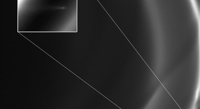 This image obtained by NASA's Cassini spacecraft around the time it went into orbit around Saturn in 2004 shows a short trail of icy particles dragged out from Saturn's F ring.