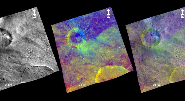 These composite images from NASA's Dawn spacecraft show three views of a terrain with ridges and grooves near Aquilia crater in the southern hemisphere of the giant asteroid Vesta.