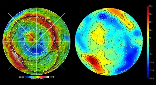 This set of images from NASA's Dawn spacecraft shows topography of the southern hemisphere of the giant asteroid Vesta and a map of Vesta's gravity variations that have been adjusted to account for Vesta's shape.