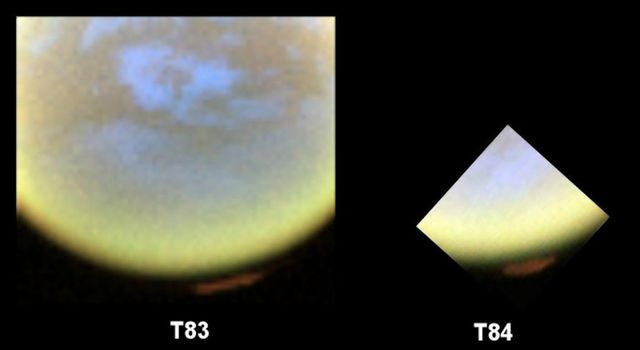 False-color images from NASA's Cassini spacecraft show the development of a hood of high-altitude haze, which appears orange in this image, forming over the south pole of Saturn's moon Titan.