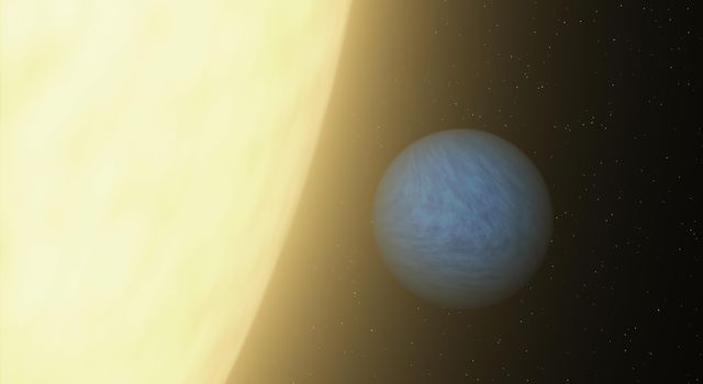 This artist's concept shows how NASA's Spitzer Space Telescope was able to detect a super Earth's direct light for the first time using its sensitive heat-seeking infrared vision.