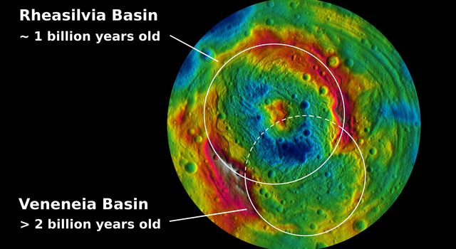 This topographic map from NASA's Dawn mission shows the two large impact basins in the southern hemisphere of the giant asteroid Vesta.