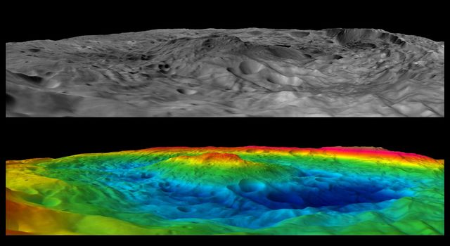 Scientists with NASA's Dawn mission have created perspective views of the Rheasilvia impact basin on the giant asteroid Vesta. Rheasilvia is located in Vesta's southern hemisphere.
