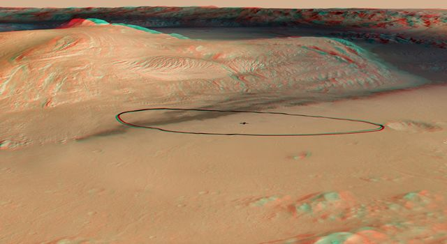 Landing Target for Mars Rover Curiosity, in Stereo