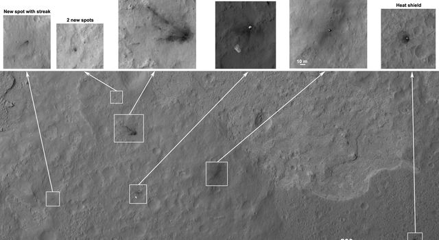 Details such as the shadow of the mast on NASA's Mars rover Curiosity appear in an image taken Aug. 17, 2012, by the HiRISE camera on NASA's Mars Reconnaissance Orbiter, from more directly overhead than previous HiRISE images of Curiosity.