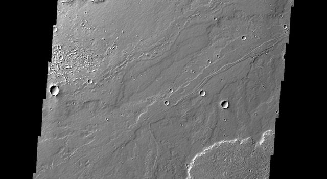 This image from NASA's 2001 Mars Odyssey spacecraft shows different surface textures in some of the lava flows of Daedalia Planum.