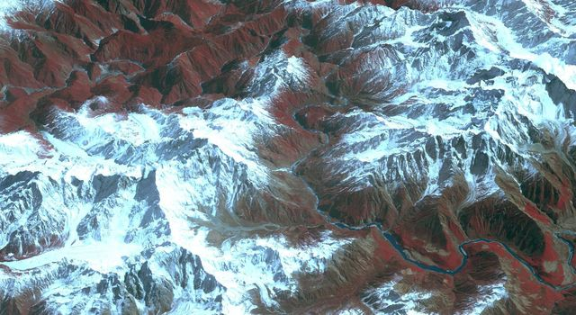 Acquired by NASA's Terra spacecraft, this image shows the Yarlung Zangpo Grand Canyon (or Tsangpo Gorge) in Tibet, the deepest canyon in the world, and longer than the Grand Canyon.