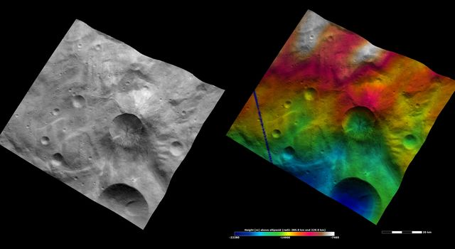 These images from NASA's Dawn spacecraft are located in asteroid Vesta's Tuccia quadrangle, in Vesta's southern hemisphere.