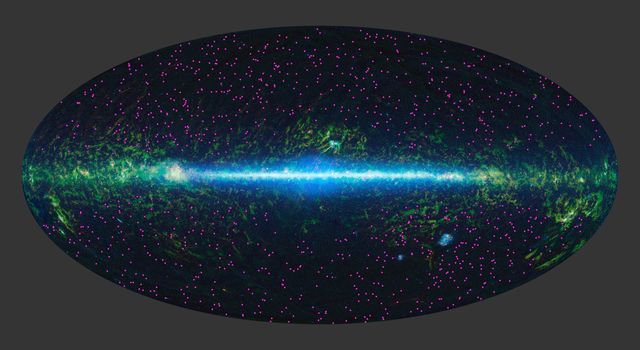NASA's WISE has identified about 1,000 extremely obscured objects over the sky, as marked by the magenta symbols. These hot dust-obscured galaxies, or 'hot DOGs,' are turning out to be among the most luminous.