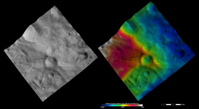 These images from NASA's Dawn spacecraft are located in asteroid Vesta's Sextilia quadrangle, in Vesta's southern hemisphere.