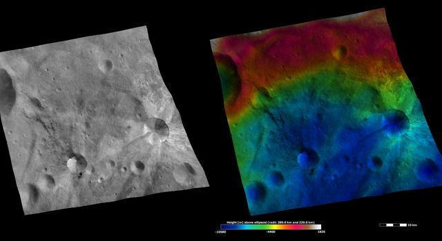 These images from NASA's Dawn spacecraft are located in asteroid Vesta's Urbinia quadrangle, in Vesta's southern hemisphere. Rays of bright material surround Canuleia crater and rays of dark material extend from the top part of Sossia crater.