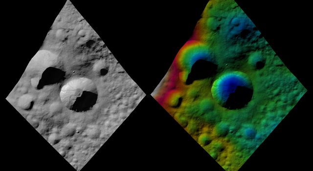 These images from NASA's Dawn spacecraft are located in asteroid Vesta's Floronia quadrangle, in Vesta's northern hemisphere. Licinia is the large, bowl shaped crater in the center with a sharp rim, which has a scalloped edge.