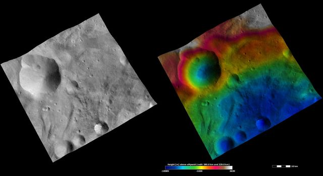 These images from NASA's Dawn spacecraft are located in asteroid Vesta's Urbinia quadrangle, in Vesta's southern hemisphere. Urbinia crater is the large, irregularly shaped crater, Sossia the middle-sized crater.