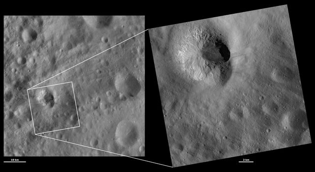 These images from NASA's Dawn spacecraft are located in asteroid Vesta's Numisia quadrangle, just south of Vesta's equator; there is a large slump of material covering the top rim of Teia crater, which makes it appear degraded.