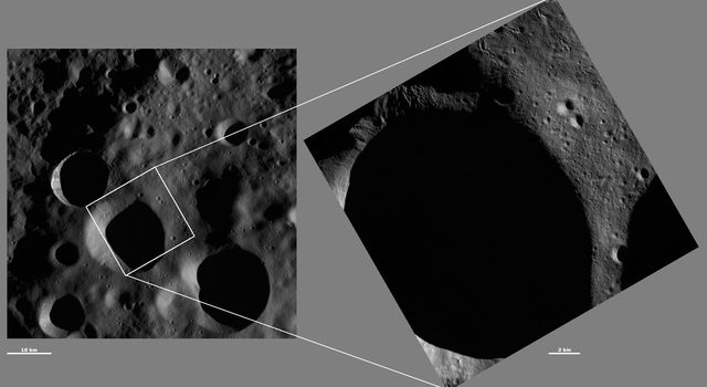 These images from NASA's Dawn spacecraft are located in asteroid Vesta's Floronia quadrangle, in Vesta's northern hemisphere; distinct sinuous grooves are visible around the rim of the crater.