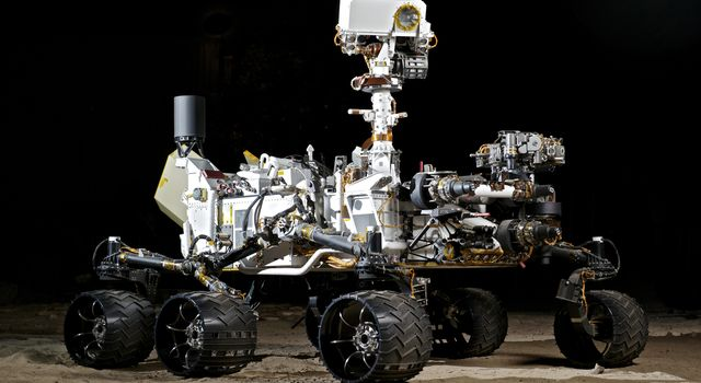 This photograph shows the Vehicle System Test Bed (VSTB) rover, a nearly identical copy to NASA's Curiosity rover on Mars.
