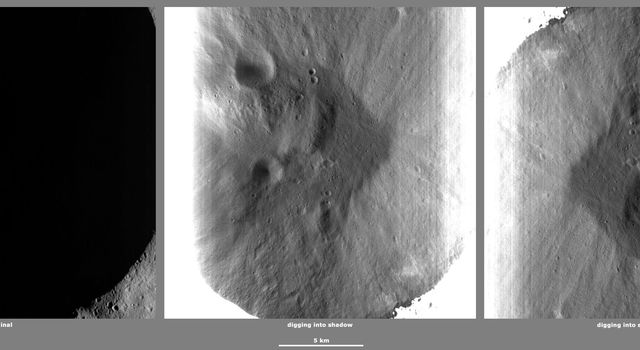 These images from NASA's Dawn spacecraft, located in asteroid Vesta's Caparronia quadrangle, in Vesta's northern hemisphere, demonstrate a special analytical technique, which results in shadowed areas of Vesta's surface becoming illuminated.