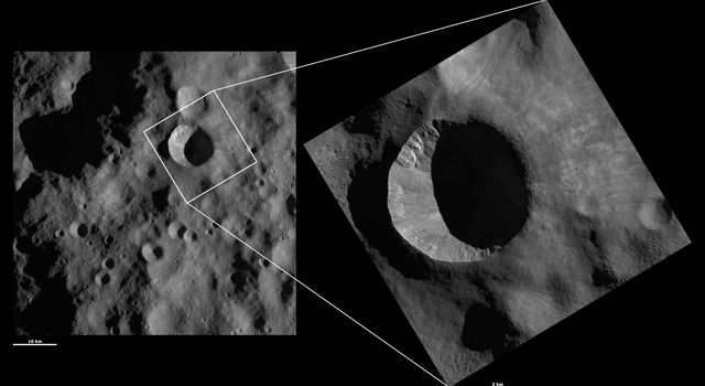 These images from NASA's Dawn spacecraft are located in asteroid Vesta's Bellicia quadrangle, in Vesta's northern hemisphere.