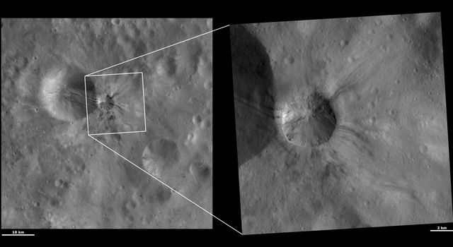 These images from NASA's Dawn spacecraft are located in asteroid Vesta's Lucaria Tholus quadrangle, in Vesta's southern hemisphere.