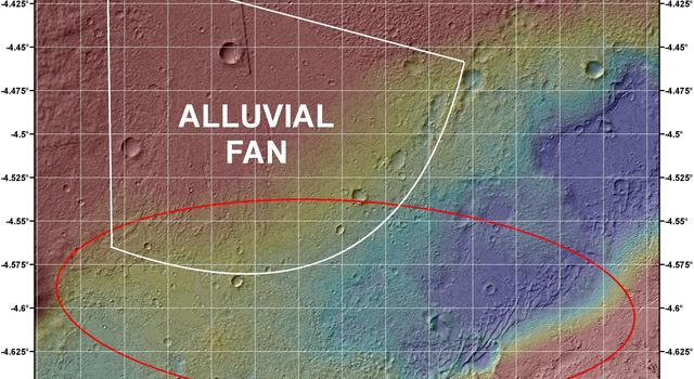 This image shows the topography, with shading added, around the area where NASA's Curiosity rover is slated to land on Aug. 5 PDT (Aug. 6 EDT). The red oval indicates the targeted landing area for the rover known as the 'landing ellipse.'