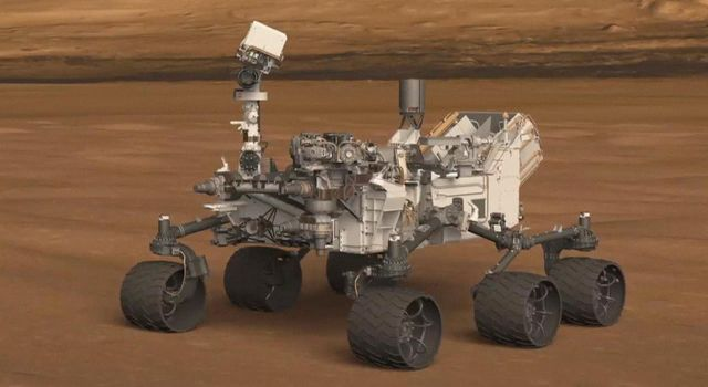 This frame from an animation shows the location of a set of Hazard-Avoidance cameras on the back of NASA's Curiosity rover.
