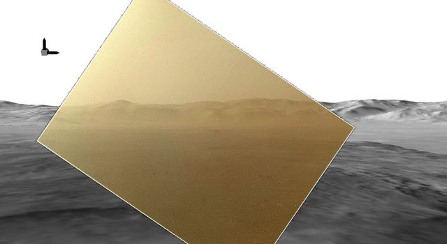 This picture from NASA's Curiosity rover puts a color view obtained by the rover in the context of a computer simulation derived from images acquired from orbiting spacecraft. The view looks north, showing the distant ridge of Gale Crater.