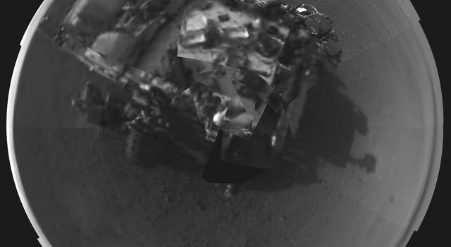 This Picasso-like self portrait of NASA's Curiosity rover was taken by its Navigation cameras, located on the now-upright mast. The camera snapped pictures 360-degrees around the rover, while pointing down at the rover deck, up and straight ahead.