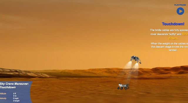 This is a still from an interactive web feature that guides you through the entry, descent and landing of NASA's Curiosity rover.