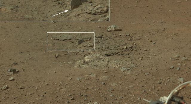 This color image from NASA's Curiosity rover shows an area excavated by the blast of the Mars Science Laboratory's descent stage rocket engines. This is part of a larger, high-resolution color mosaic made from images obtained by Curiosity's Mast Camera.